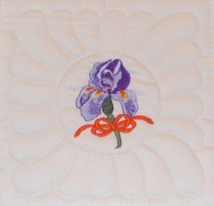 B10 Machine Embroidery Bearded Iris block