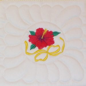 B8 Machine Embroidery Quilt As you Go Hibiscus block