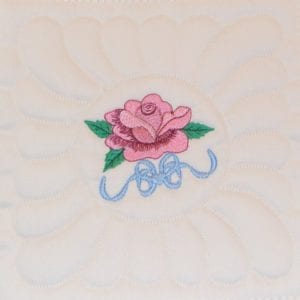 B6 Machine Embroidery Rose Quilt as you Go Block
