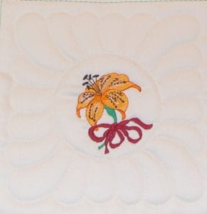 B4 Machine Embroidery Quilt as you Go Tiger Lily Block